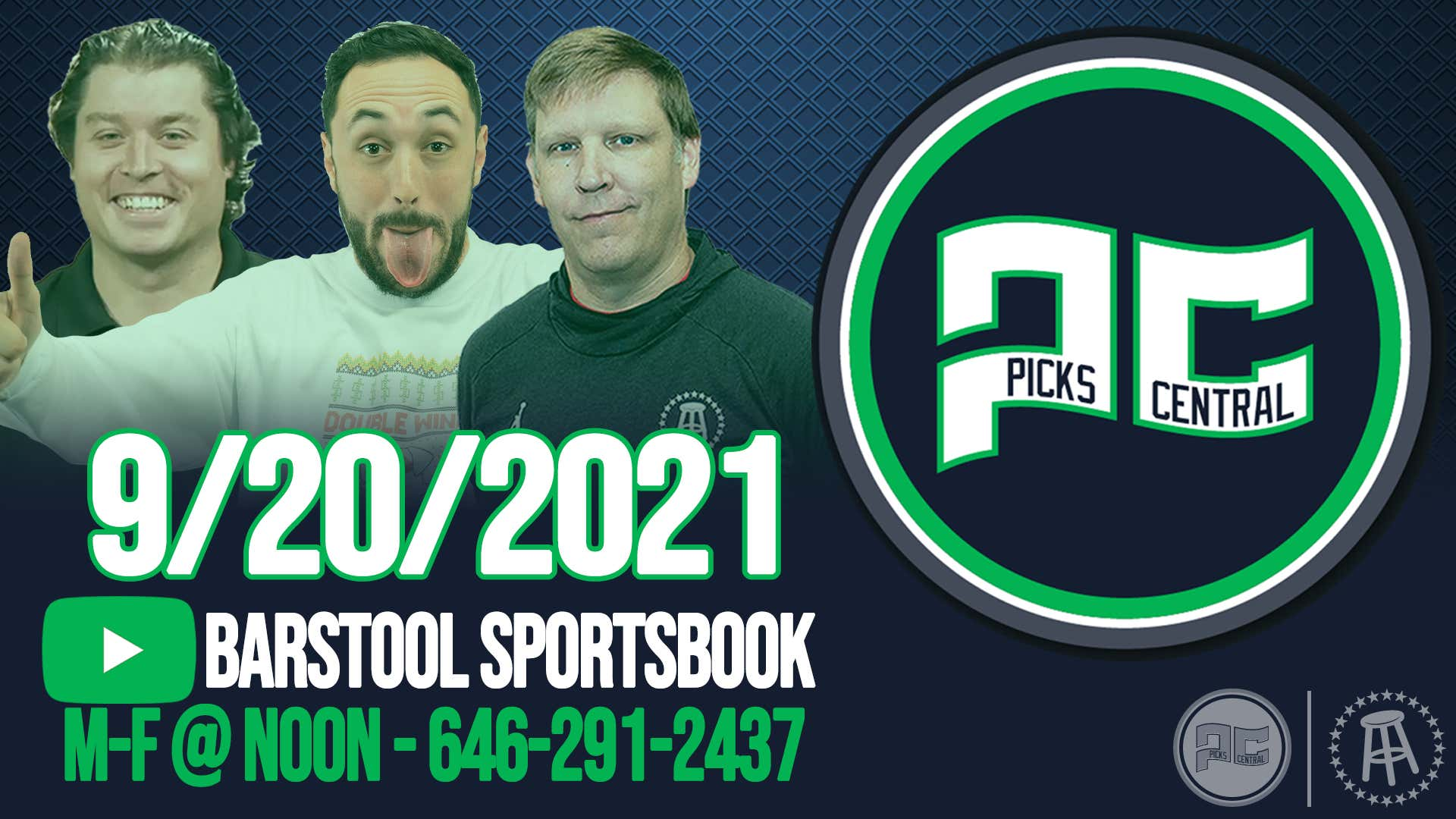 Barstool Sports Picks Central with Brandon Walker || Monday, September 20th, 2021