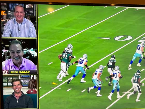 Nick Saban Was Shamelessly Recruiting Arch Manning on Peyton and Eli's MNF Broadcast