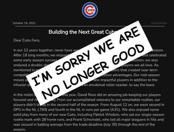 Breaking Down The Season Ending Letter Tom Ricketts Sent Out To Cubs Fans Today