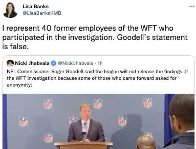 Roger Goodell Is 100% Lying In His Attempts To Cover For Dan Snyder And Is Being Directly Called Out By The Women Personally Involved