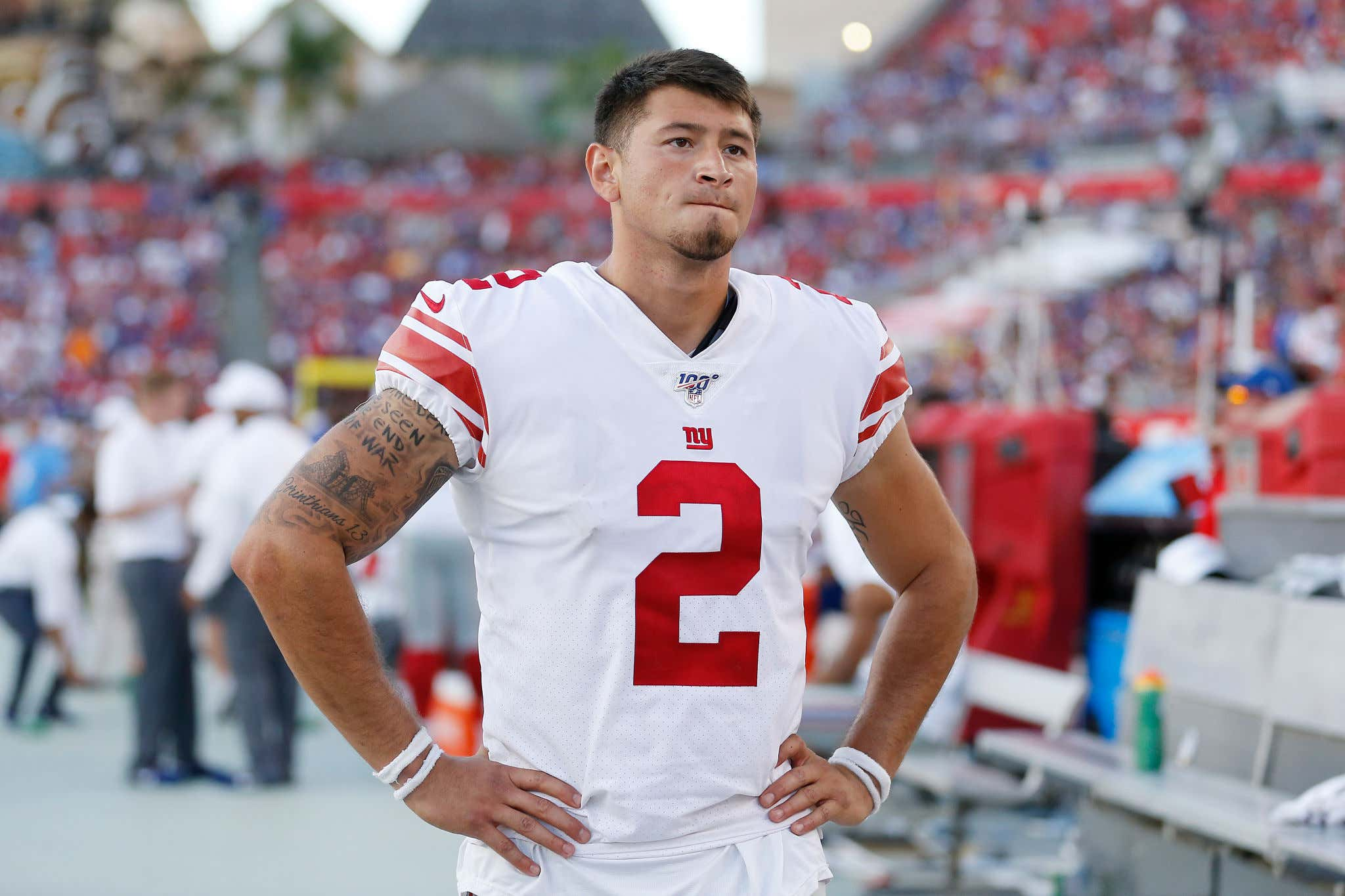 TAMPA, FLORIDA - SEPTEMBER 22:  Aldrick Rosas #2 of the New York Giants looks on against the Tampa Bay Buccaneers during the fourth quarter at Raymond James Stadium on September 22, 2019 in Tampa, Florida. (Photo by Michael Reaves/Getty Images)