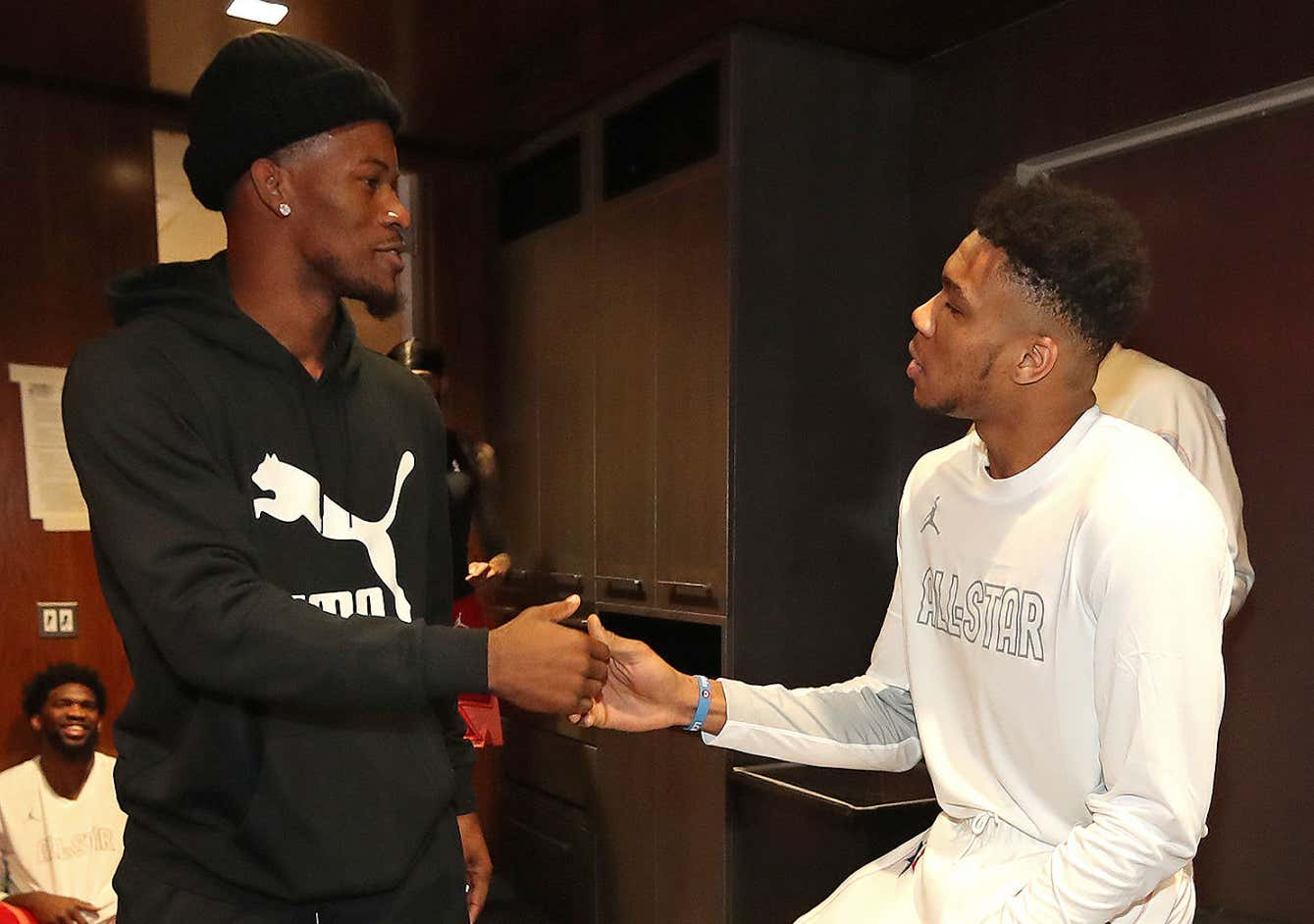 CHICAGO, IL - FEBRUARY 16: Jimmy Butler #24 of Team Giannis high-fives Giannis Antetokounmpo #24 of Team Giannis in the locker room before the game during the 69th NBA All-Star Game on February 16, 2020 at the United Center in Chicago, Illinois. NOTE TO USER: User expressly acknowledges and agrees that, by downloading and or using this photograph, User is consenting to the terms and conditions of the Getty Images License Agreement. Mandatory Copyright Notice: Copyright 2020 NBAE (Photo by Nathaniel S. Butler/NBAE via Getty Images)
