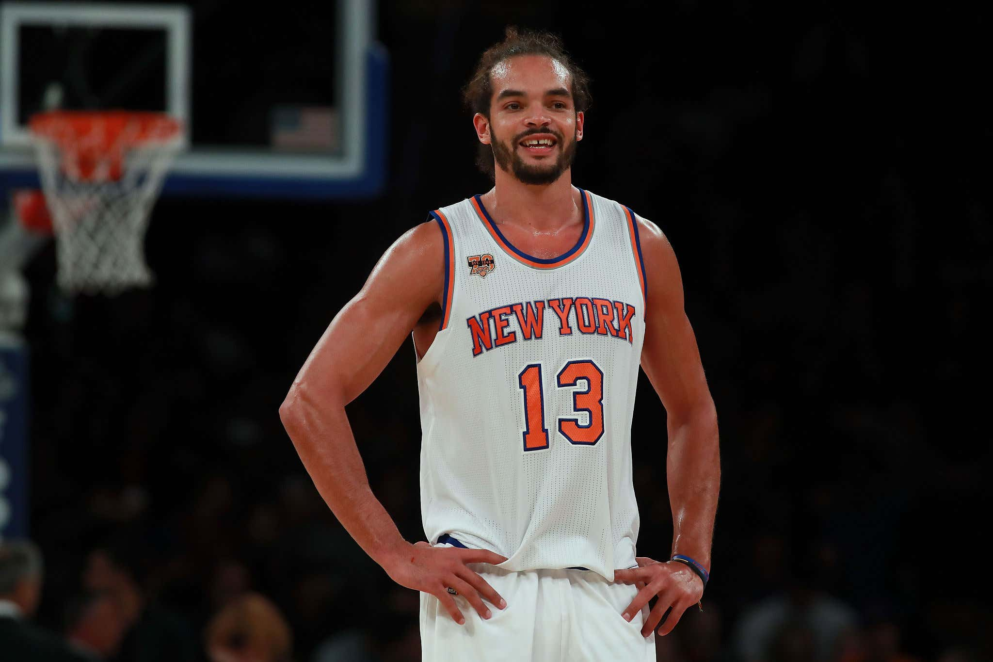 NEW YORK, NY - OCTOBER 15:  Joakim Noah #13 of the New York Knicks looks on against the Boston Celtics during their preseason game at Madison Square Garden on October 15, 2016 in New York City. NOTE TO USER: User expressly acknowledges and agrees that, by downloading and or using this photograph, User is consenting to the terms and conditions of the Getty Images License Agreement.  (Photo by Michael Reaves/Getty Images)