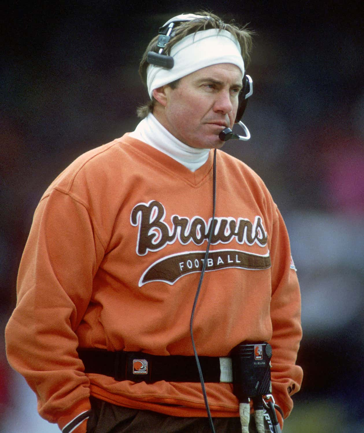 CLEVELAND, OH - NOVEMBER 7:  Head coach Bill Belichick of the Cleveland Browns looks on from the sideline during a game against the Denver Broncos at Cleveland Municipal Stadium on November 7, 1993 in Cleveland, Ohio.  The Broncos defeated the Browns 29-14.  (Photo by George Gojkovich/Getty Images)