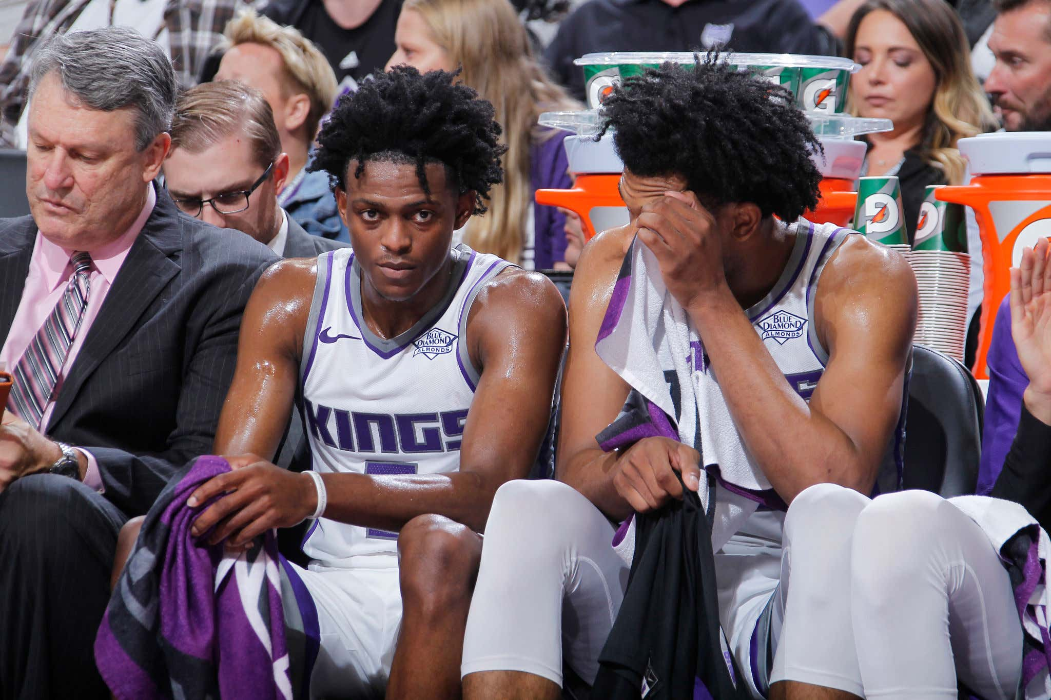 SACRAMENTO, CA - OCTOBER 11: De'Aaron Fox #5 and Marvin Bagley III #35 of the Sacramento Kings talk during the game against the Utah Jazz on October 11, 2018 at Golden 1 Center in Sacramento, California. NOTE TO USER: User expressly acknowledges and agrees that, by downloading and or using this photograph, User is consenting to the terms and conditions of the Getty Images Agreement. Mandatory Copyright Notice: Copyright 2018 NBAE (Photo by Rocky Widner/NBAE via Getty Images)