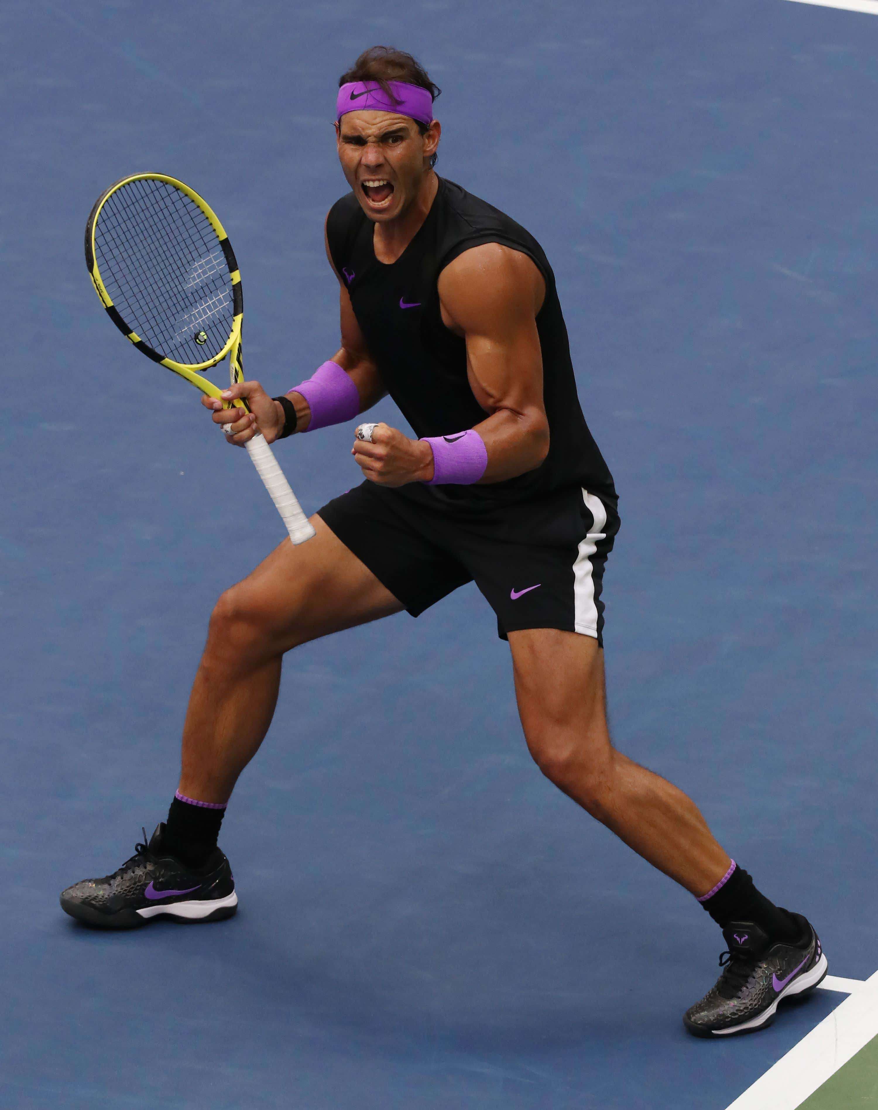 Rafael Nadal of Spain reacts as he plays Daniil Medvedev of Russia during the men's final match on the fourteenth day of the US Open Tennis Championships the USTA National Tennis Center in Flushing Meadows, New York, USA, 08 September 2019. The US Open runs from 26 August through 08 September.