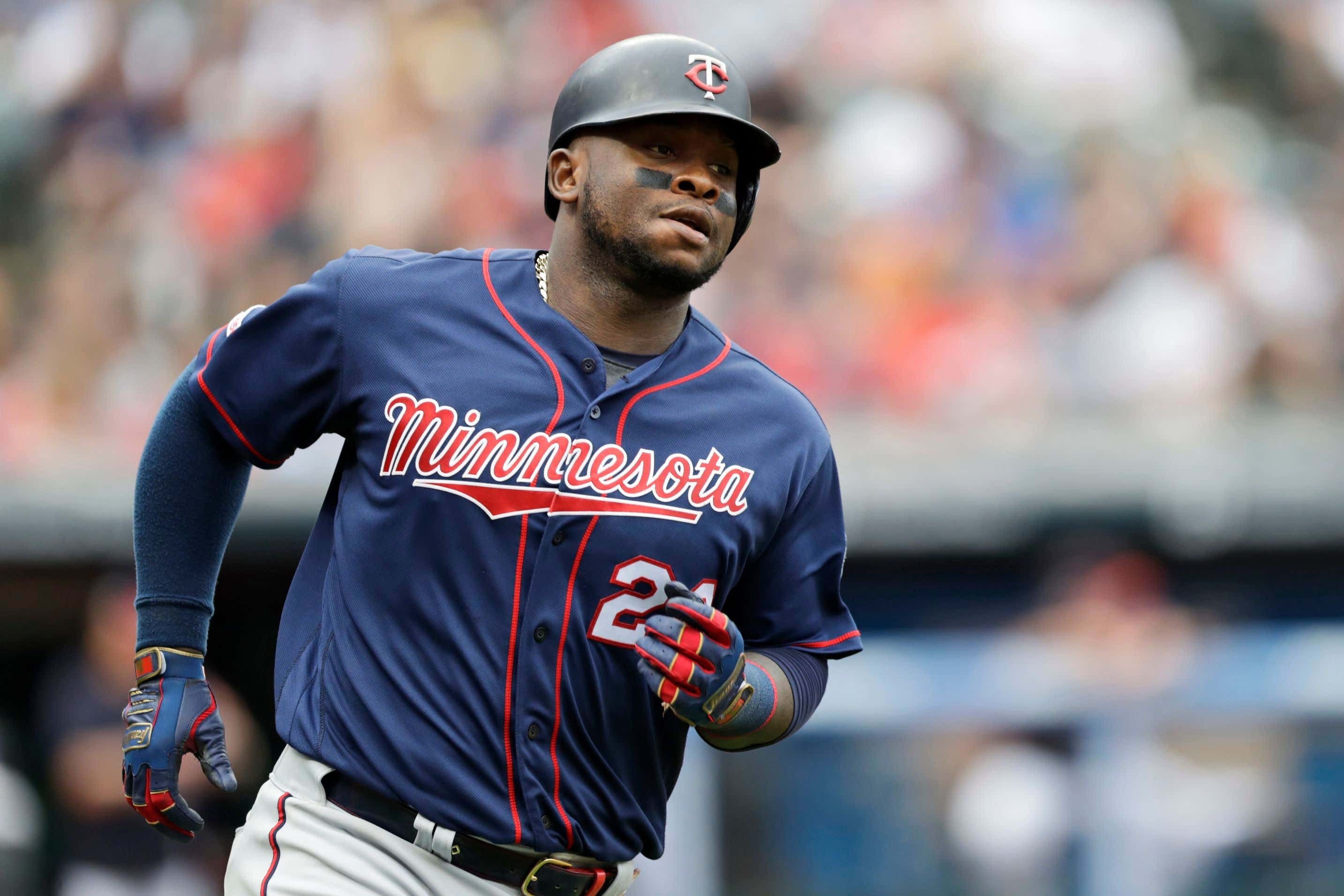 Minnesota Twins' Miguel Sano runs the bases after hitting a solo home run in the third inning in a baseball game against the Cleveland Indians, in Cleveland