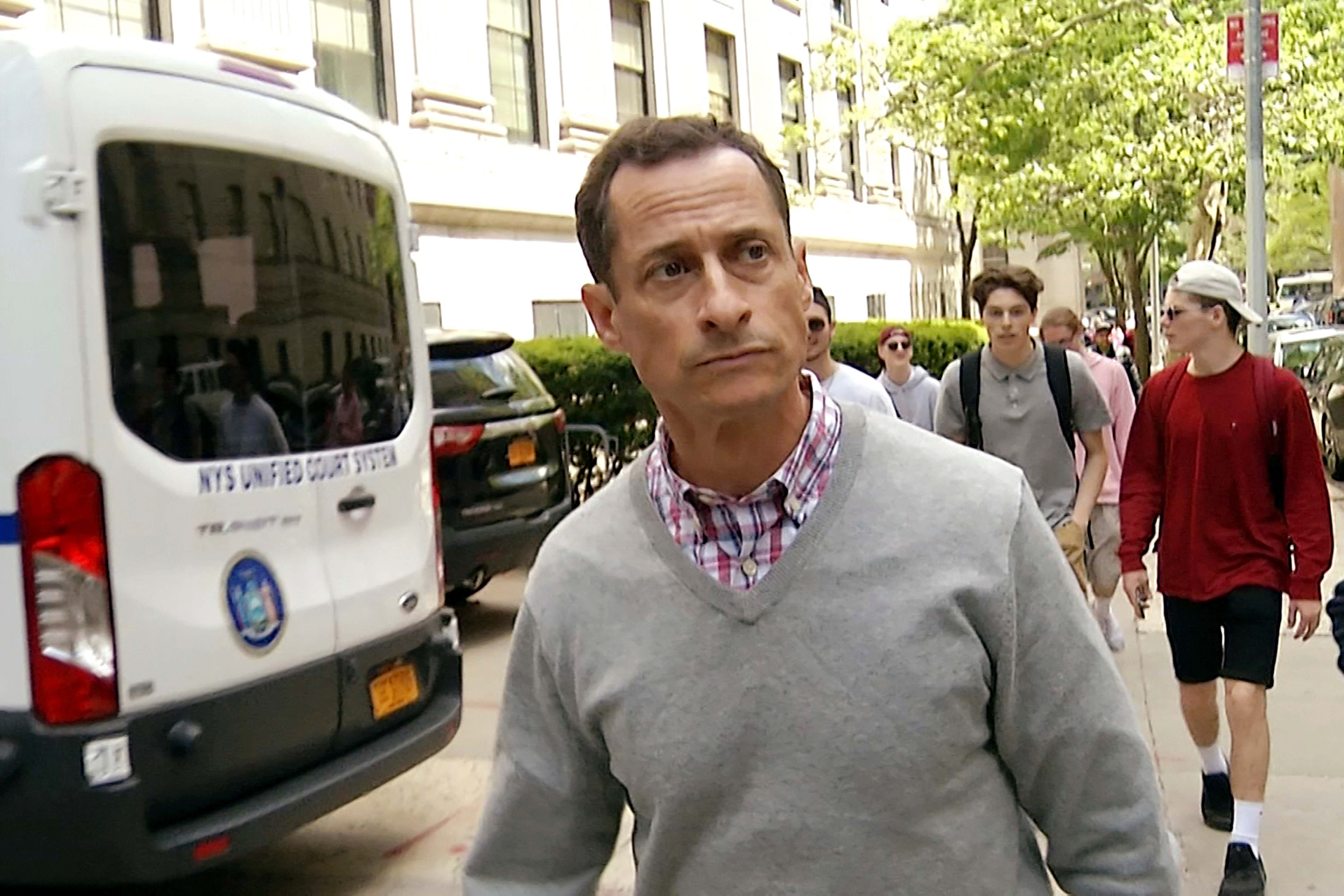 In this image made from video, disgraced ex-Congressman Anthony Weiner leaves a federal courthouse where the Probation Department is located, in New York, . Weiner visited his probation officer a day after leaving a halfway house at the conclusion of a 21-month prison sentence for his illegal internet contact with a 15-year-old girl