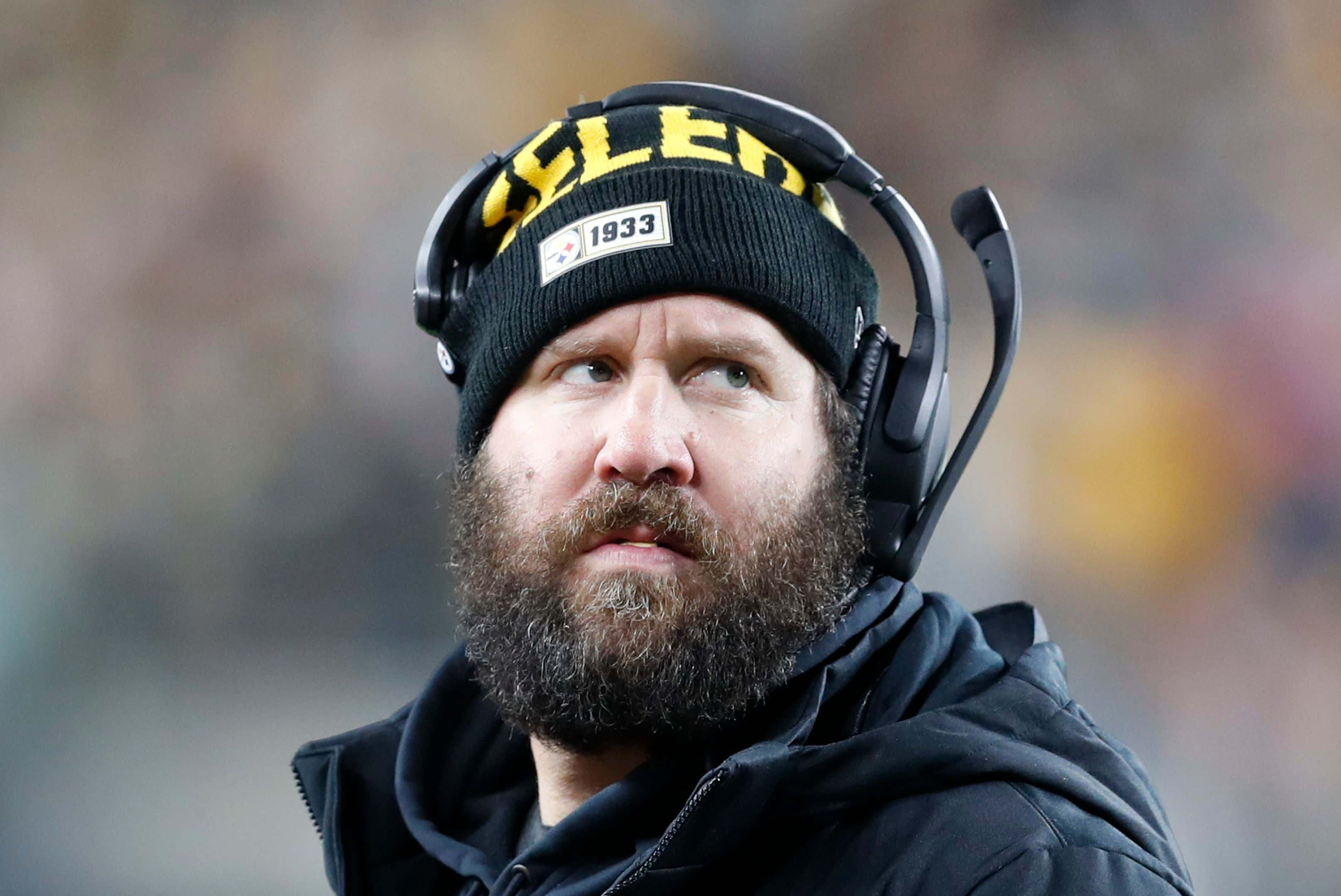 Pittsburgh Steelers quarterback Ben Roethlisberger stands on the sidelines during the first half of an NFL football game against the Buffalo Bills in Pittsburgh,. The Bills won 17-10