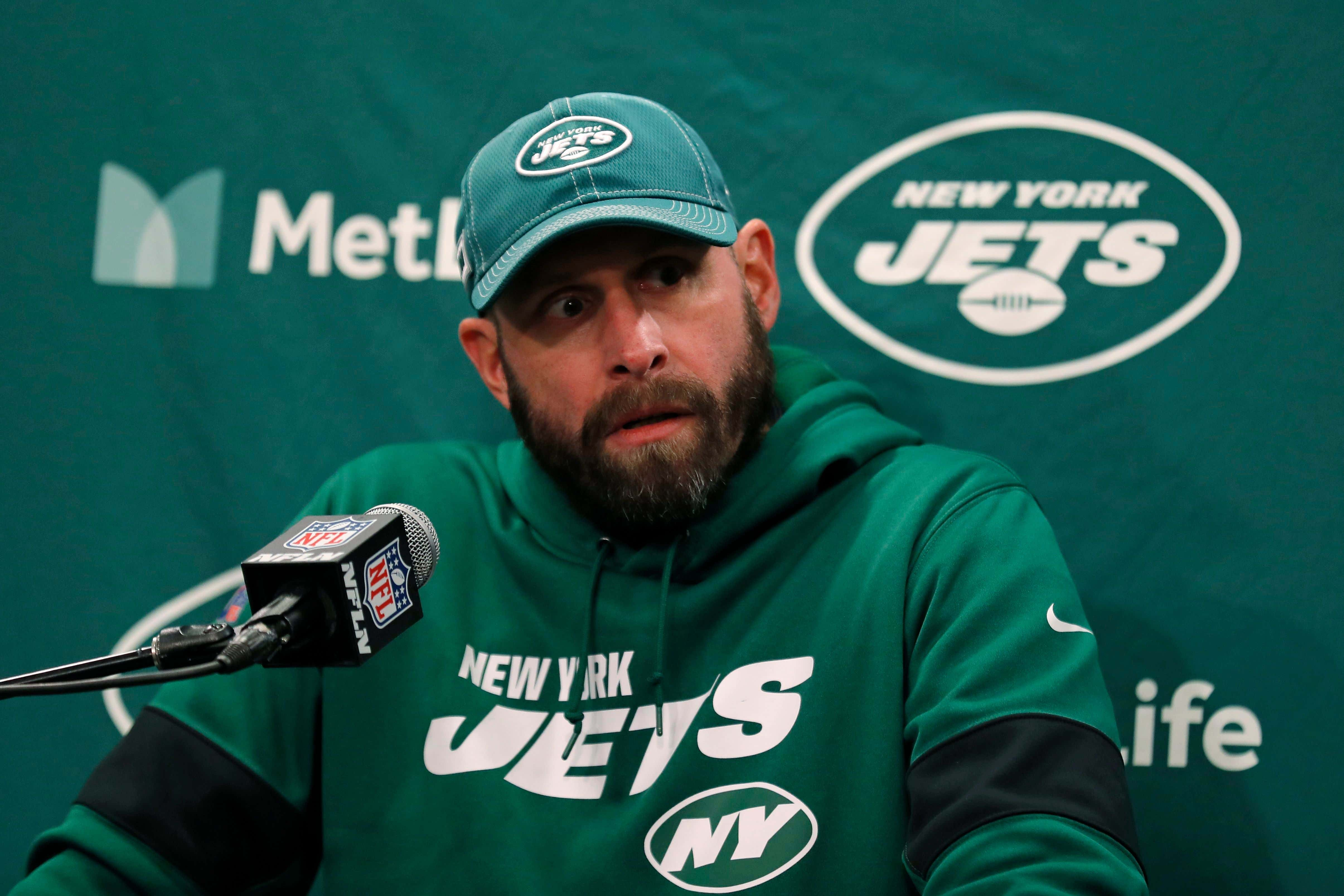 New York Jets head coach Adam Gase talks after an NFL football game against the Pittsburgh Steelers, in East Rutherford, N.J