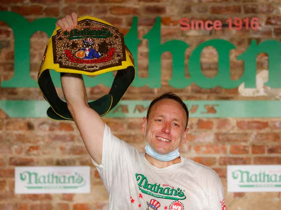 American Hero Joey Chestnut Breaks World Record By Devouring 75 Hot Dogs In 10 Minutes