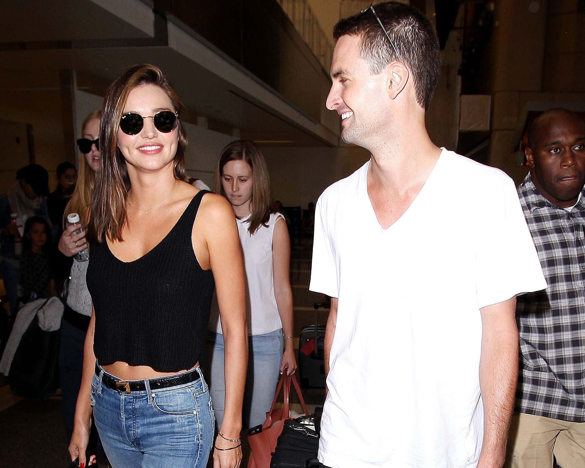 Miranda Kerr and Evan Spiegel at LAX international airport, Los Angeles, America - 12 Aug 2015