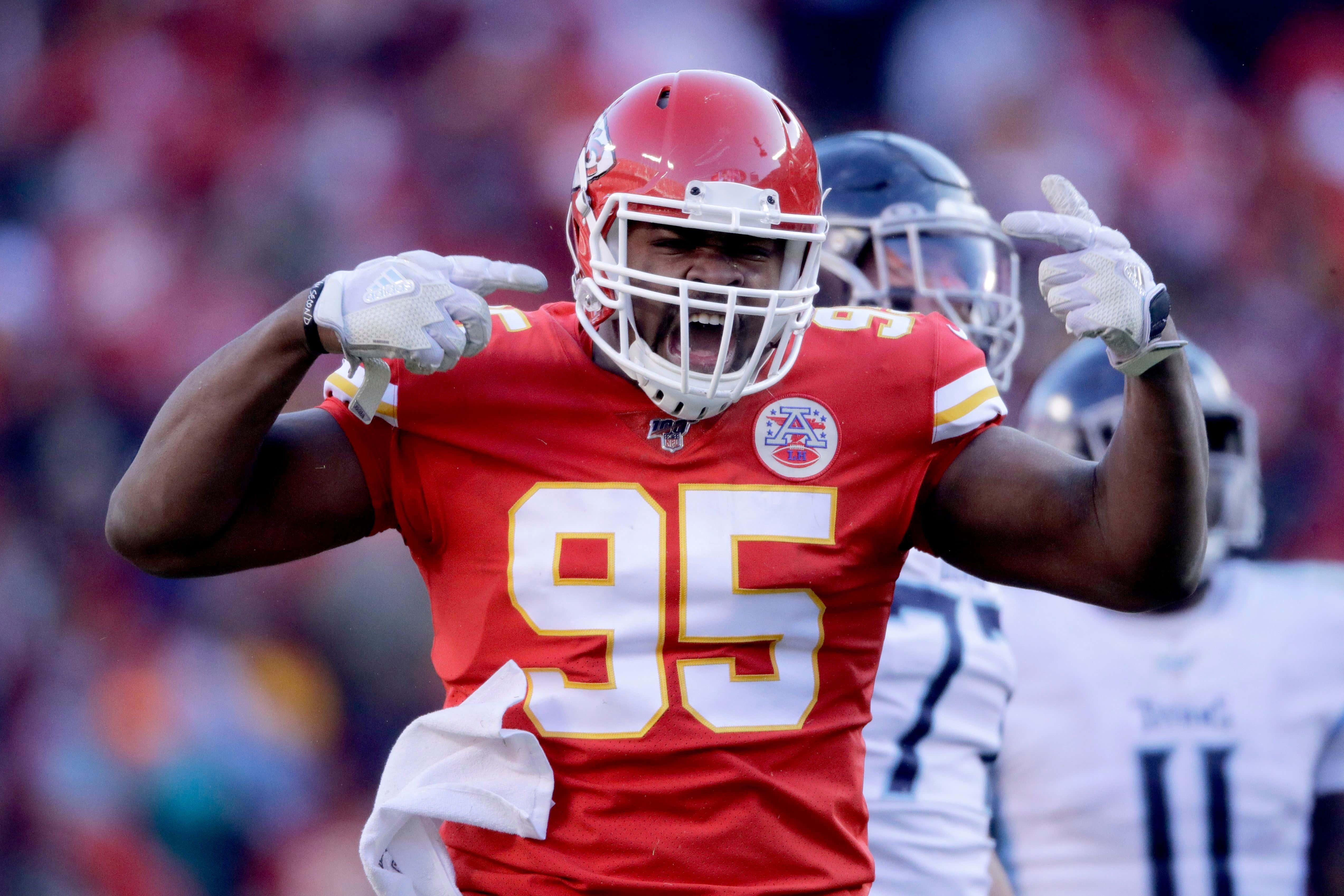 Kansas City Chiefs' Chris Jones reacts during the first half of the NFL AFC Championship football game against the Tennessee Titans, in Kansas City, MO