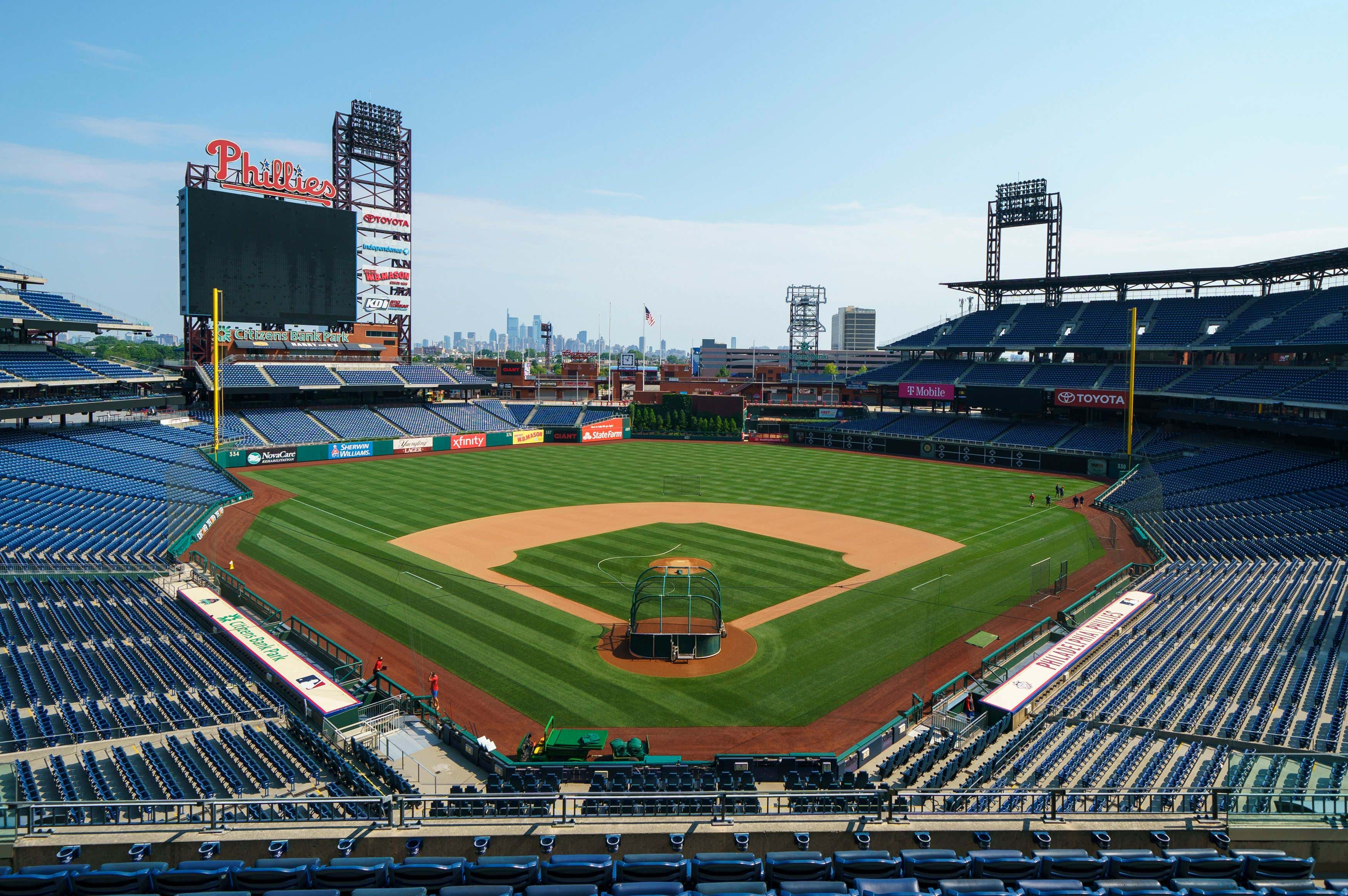 Citizens Bank Park, home of baseball's Philadelphia Phillies, is shown before a training session, in Philadelphia