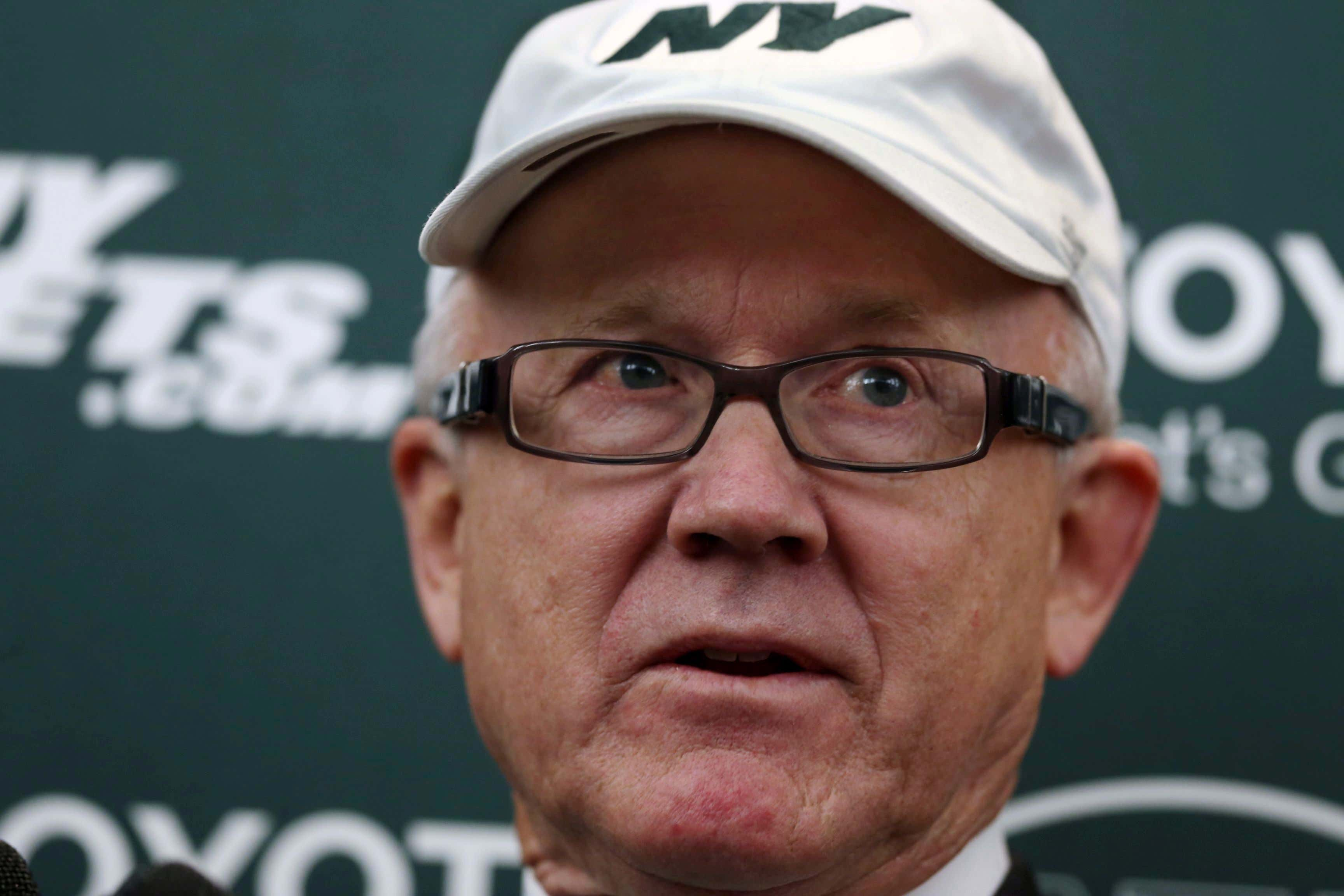 New York Jets owner Woody Johnson answers a question as he addresses the media at the team's training facility, in Florham Park, N.J. AP Photo/Mel Evans