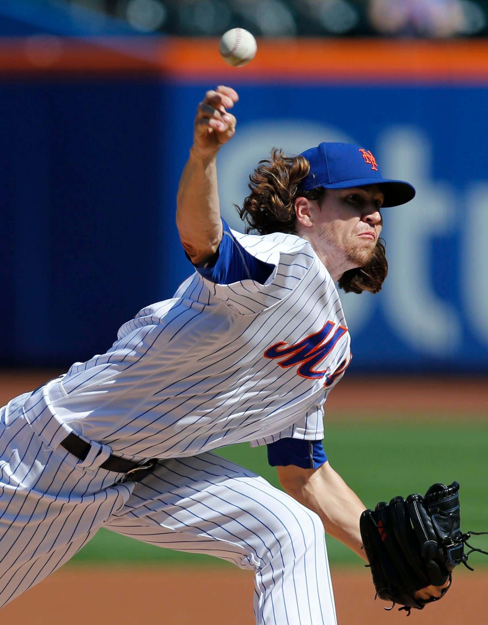 Jacob de Grom. New York Mets starting pitcher Jacob deGrom delivers during the first inning of a baseball game against the Washington Nationals, in New York