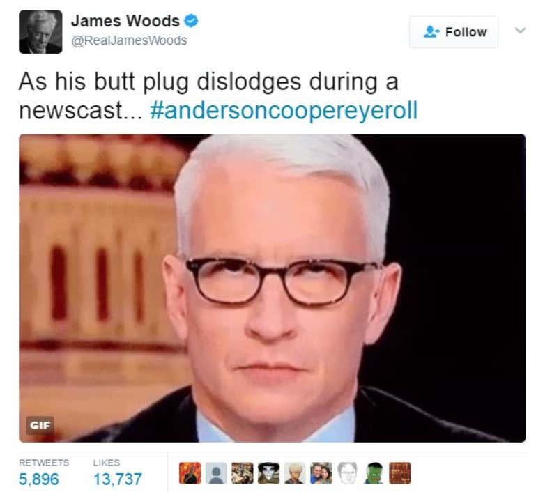 James Woods prihaja v vročem s kontroverznim Tweetom o Andersonu Cooperju Roll Eye Roll-6668
