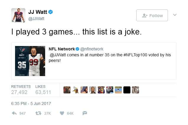 JJ Watt. It doesn t matter where your allegiances like or who you root for 2a6864e58