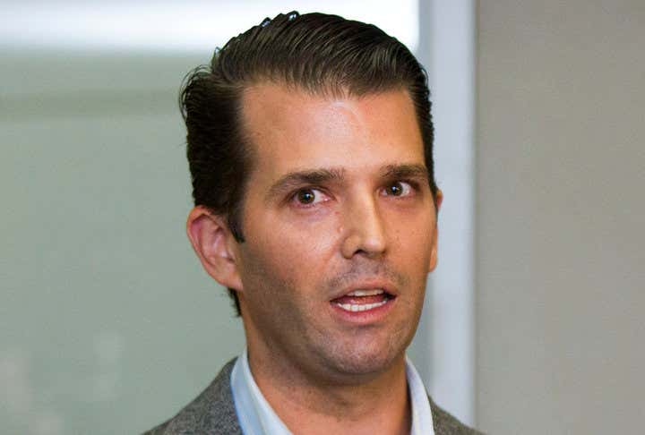 Donald Trump Jr.speaks to the media gathered at Jackson Aviation in Boise