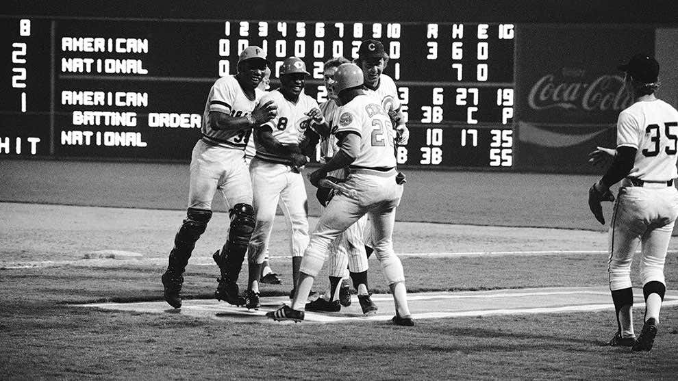 Members of the National League surround Joe Morgan of the Cincinnati Reds after delivering the winning hit in the 1972 All-Star Game in Atlanta.