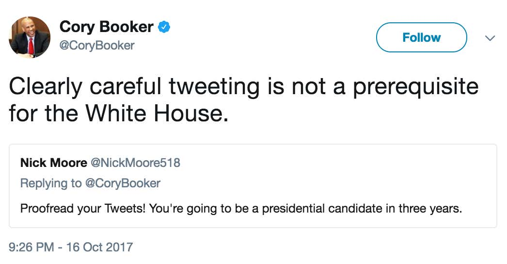 2020 Democratic Presidential Contender Cory Booker Takes A Shot At