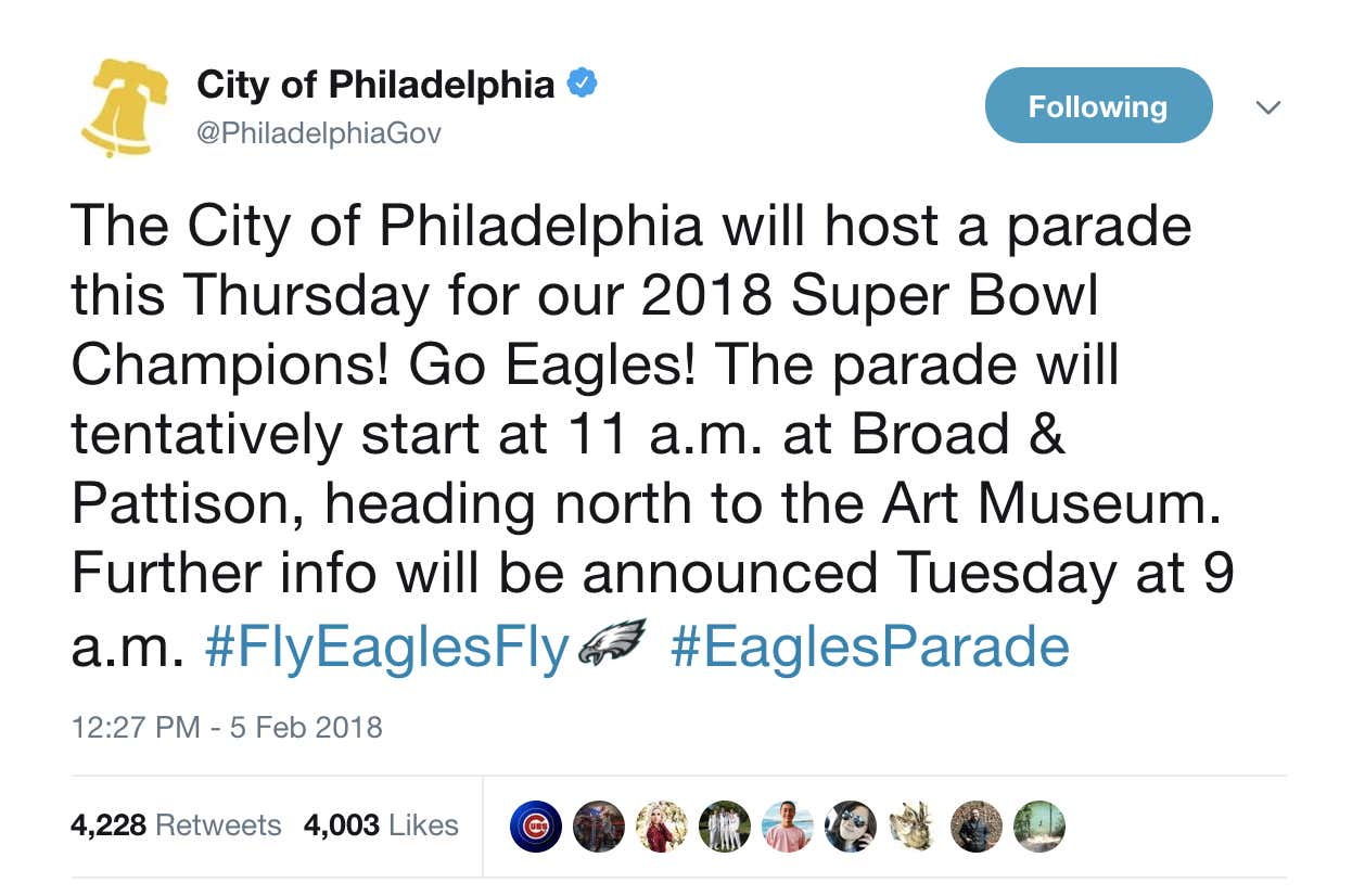 apparently there s going to be some sort of parade in philadelphia