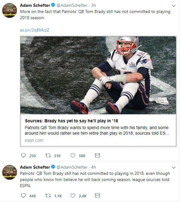 8dfc23688 ESPN – New England Patriots quarterback Tom Brady still has not committed  to playing in 2018, even though people who know him believe he will be back  for ...