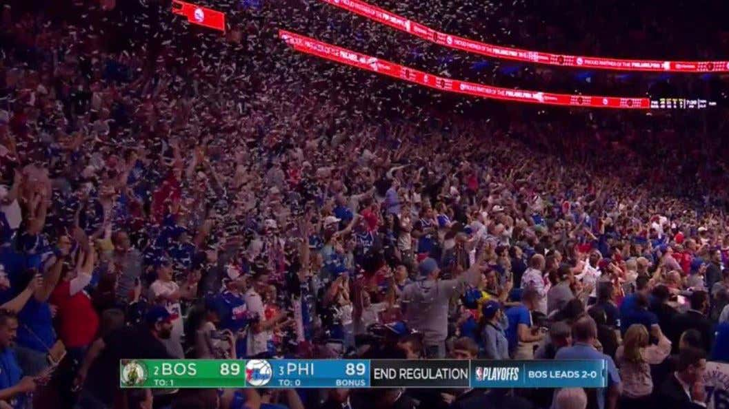 The Sixers Dropping Confetti From The Sky When They Are About To Get ... a31008f2b