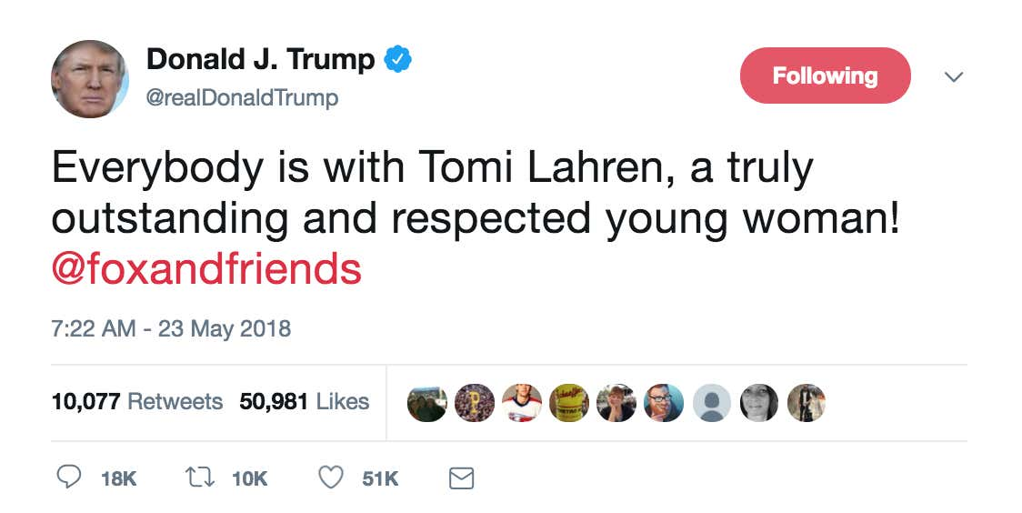 71e817a2 Trump Says Everybody Is With Tomi Lahren After Horrific Tragedy Of ...