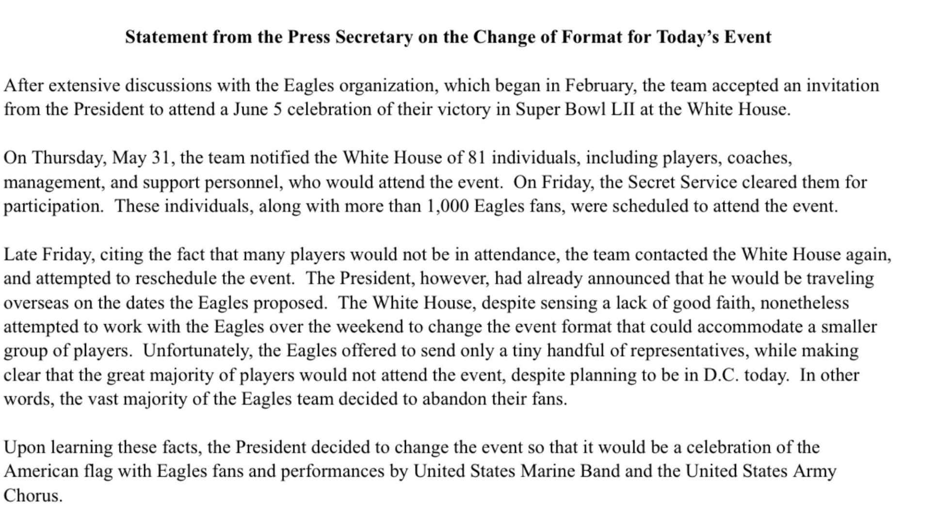 White House Doubles Down Implying The Eagles Are Not Only Disloyal