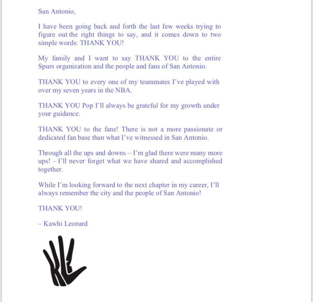 Kawhi Leonards Farewell Statement Made Me Laugh Barstool Sports