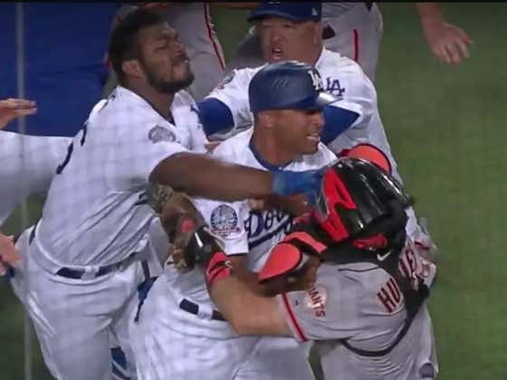 Shoutout Dodgers' First Base Coach George Lombard For Mixing It Up In The Dodgers-Giants Brawl