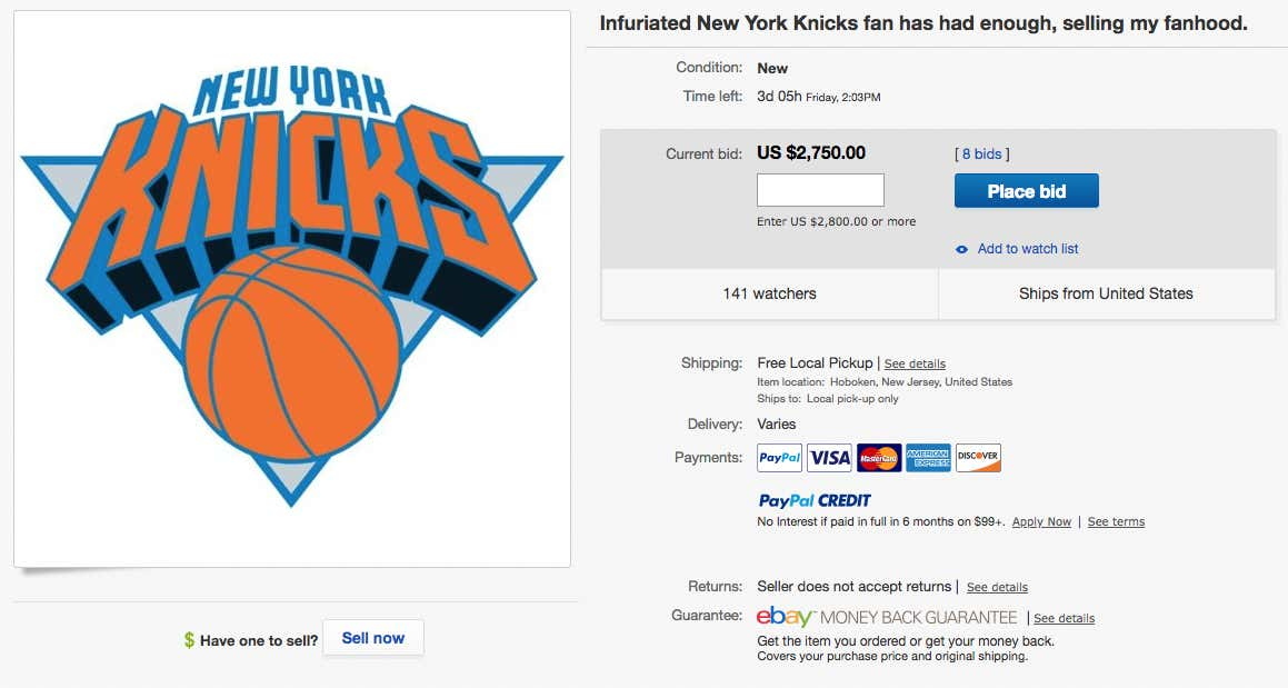 An Angry Knicks Fan Is Selling His Nba Fandom On Ebay And I Fully Support Him Barstool Sports