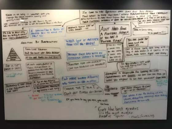Jim Harbaugh's Motivational Office White Board Needs To Be Put In The Football Hall Of Fame
