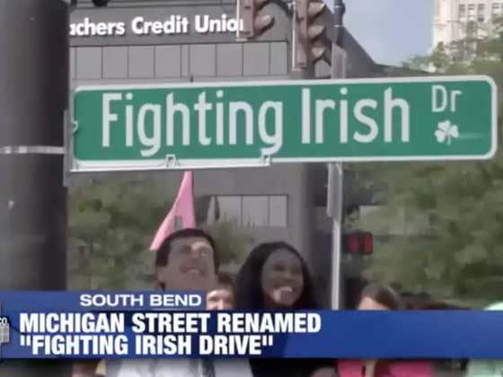 "South Bend, Michigan Renames ""Michigan Street"" To ""Fighting Irish Drive"" Ahead Of Michigan-Notre Dame Game"