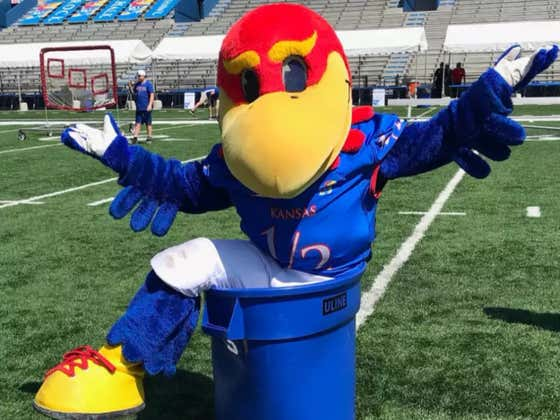 Kansas Football (3-33 Over The Past 3 Seasons) Un-Ironically Posts Baby Jay The Mascot Posing In A Trash Can