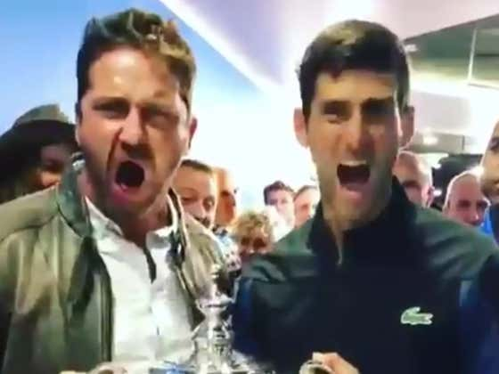 """Novak Djokovic Kept Screaming """"This Is Sparta"""" With Gerard Butler After Winning The US Open Yesterday"""