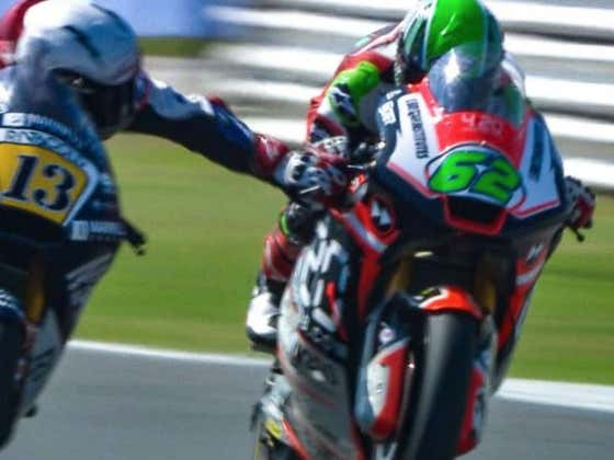 Moto2 Racer Grabs Another Guy's Brake Mid-Race At 135MPH