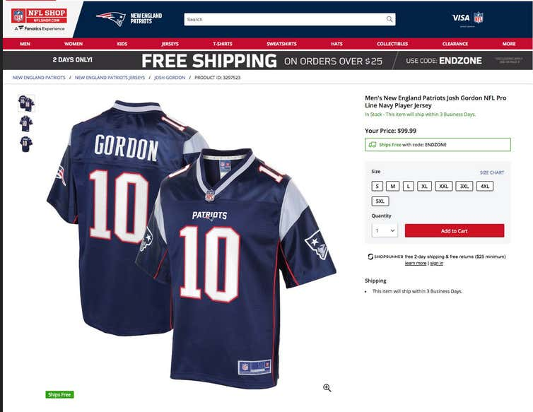 "Which coincidentally happens to be the same jersey with ""GORDON"" on it the  NFL just started selling for 100 bucks  8d9eb63e6"