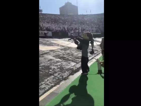 An Alternate Angle Of The Mascot Getting Hit In The Dick By A T-Shirt Cannon Somehow Makes It Even Funnier