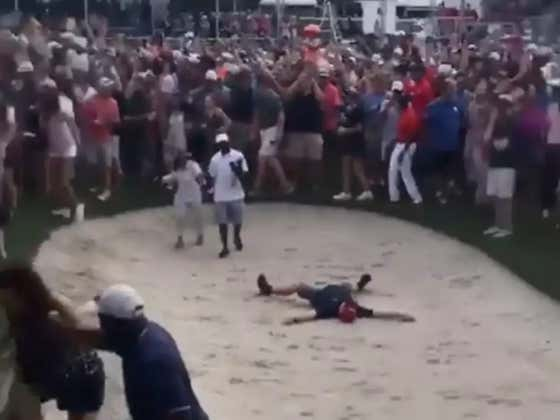 This Guy Doing Snow Angels In A Bunker As Tiger Was About To Win Is Fantastic