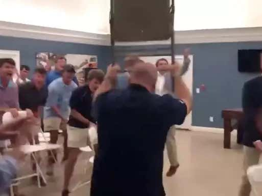 Georgia Southern HC Chad Lunsford Keeps Showing Up To Frats And Turning Them Into WWE Events