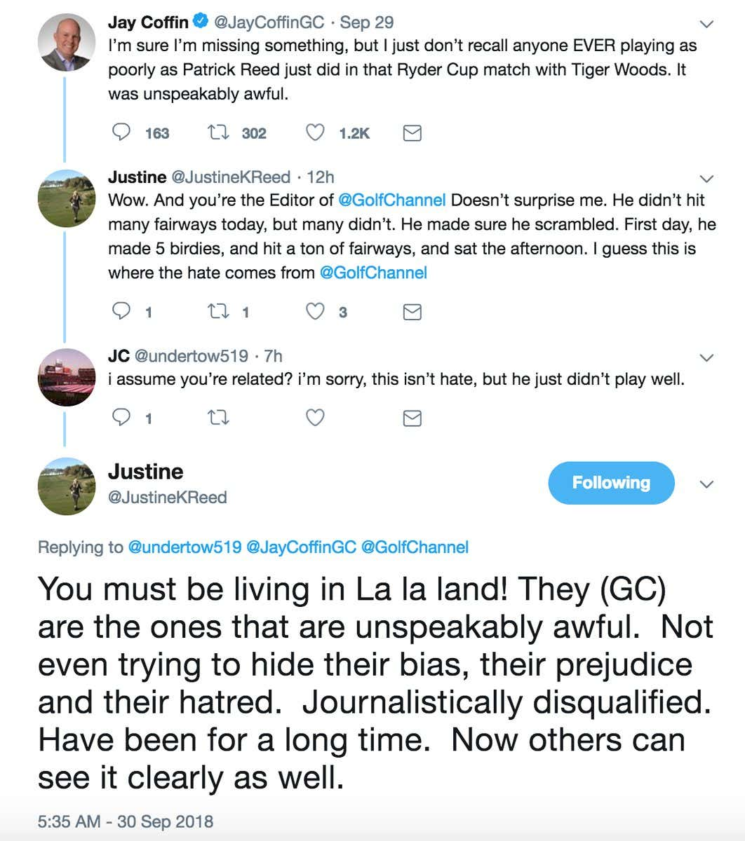 300d3f5ad55 Ryder Cup media center is BUZZING about Patrick Reed s wife calling Golf  Channel fake news on twitter. Journalistically disqualified! Is that really  her