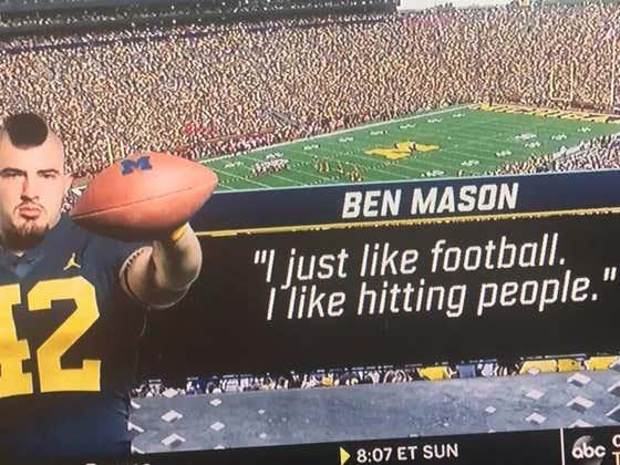 """I Just Like Football. I Like Hitting People"" -Michigan's Hurdling Fullback Ben Mason"