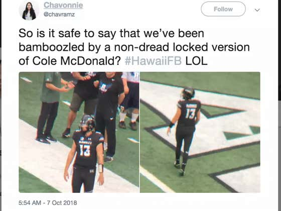Hawaii Went To Absurd Lengths To Disguise Their QB Wasn't Playing On Saturday