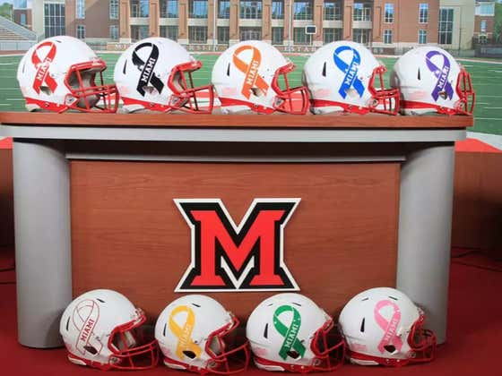 Miami (OH) Reveal 9 Awesome Helmets To Raise Awareness For Cancer This Weekend