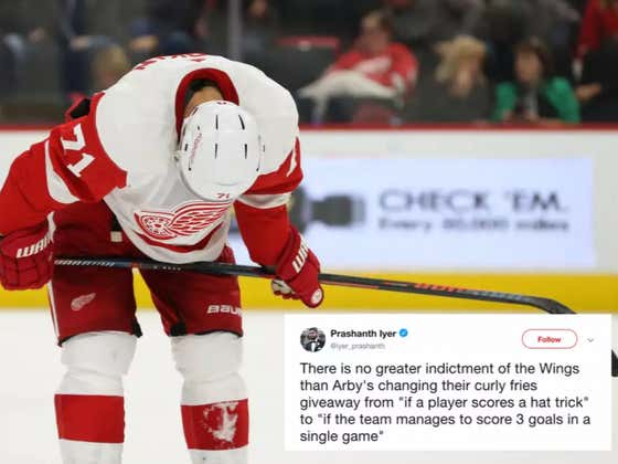 Arby's (Yes, Arby's) Is Getting Real Sick And Tired Of The Detroit Red Wings Not Scoring Enough
