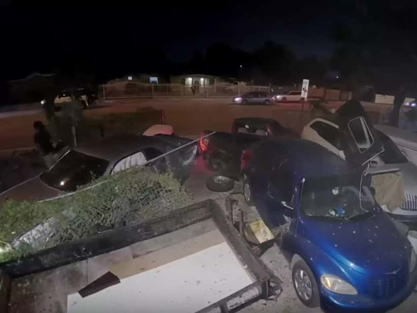 Dude Smashes Into A Million Parked Cars And Walks Away Like Nothing Happened
