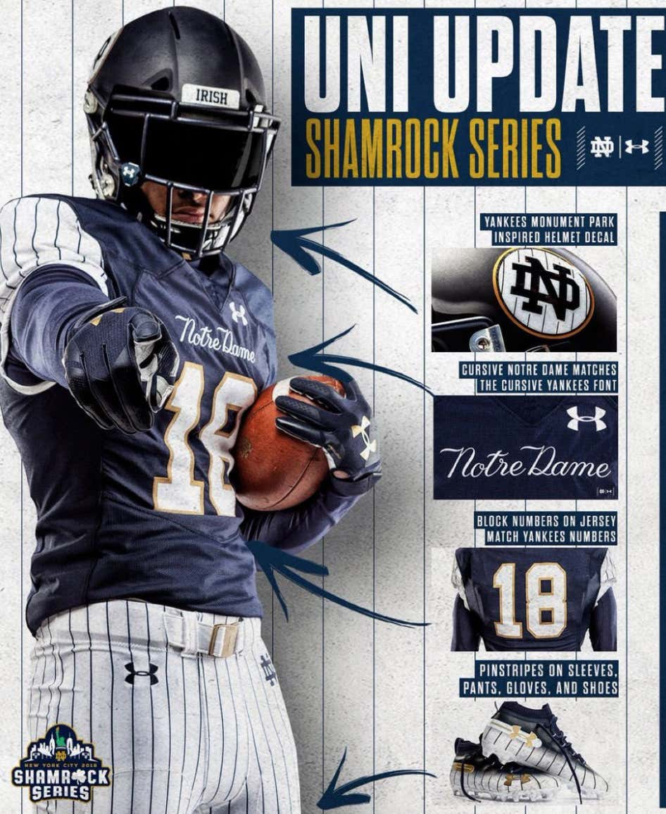 best loved 06499 77c13 Notre Dame Wearing Yankee Pinstripe Jerseys For Saturday's ...