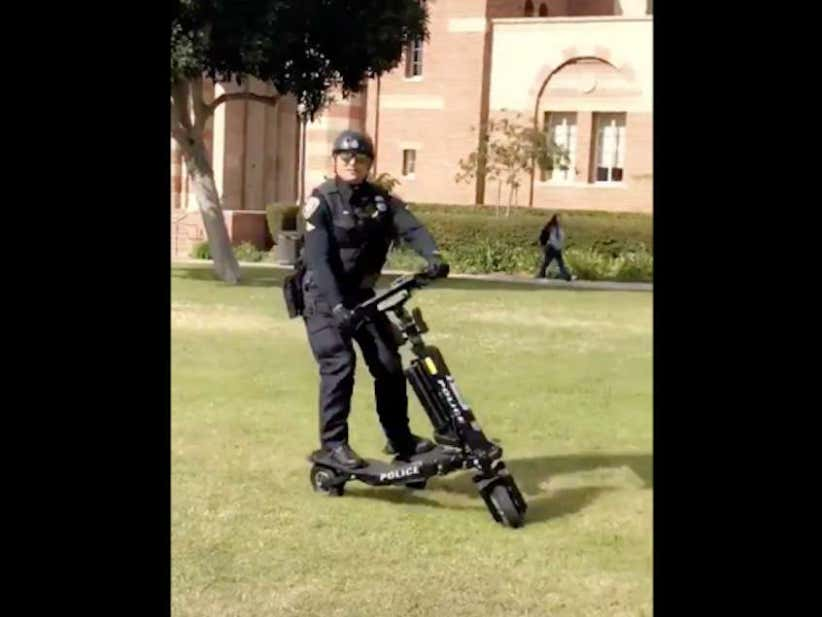 Campus Police Officer Takes A DIGGER Testing OutHis Sweet New Three-Wheeled Patrol Scooter